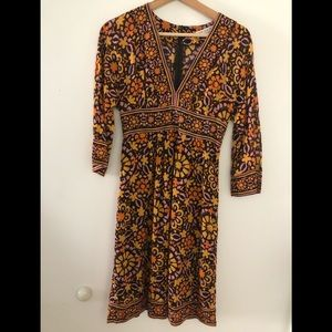 Trina Turk Deep V-Neck 100% Cotton Boho Dress Sz 0